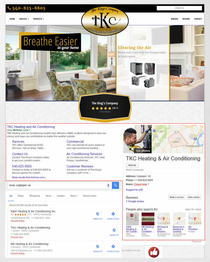 Successful On Page SEO campaign: Culpeper, VA client