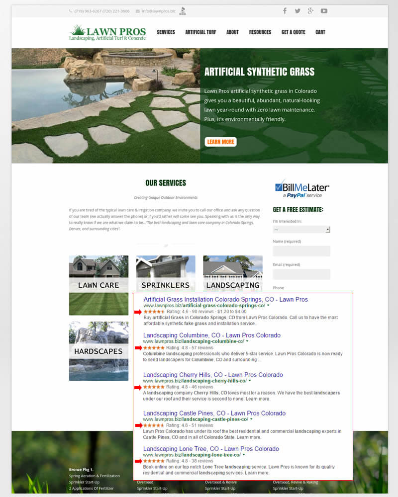 Successful On Page SEO Campaign: Colorado Client